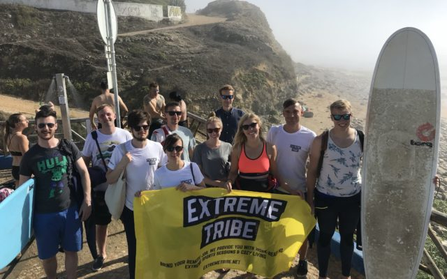 Extreme Tribe surfing and working remotely in Portugal in September 2019
