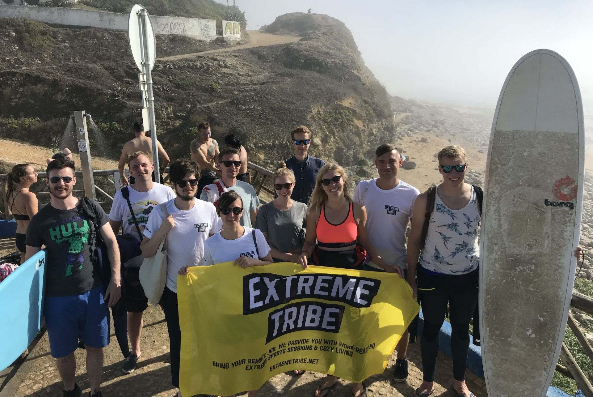 Extreme Tribe surfing and working remotely in Ericeira, Portugal in September 2019: