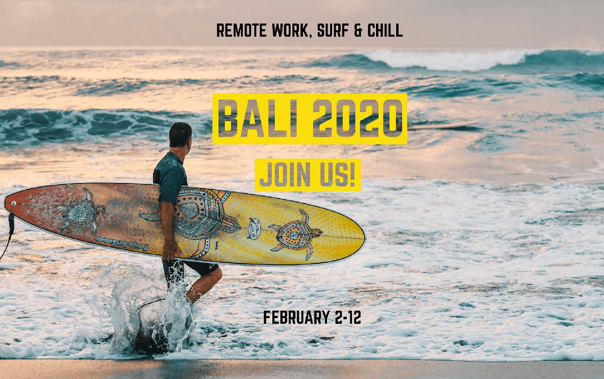 Digital nomad coliving, coworking and surfing in Bali